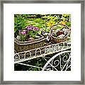 Flower Cart In Garden Framed Print by Elena Elisseeva