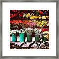 Flower Market With Bike Framed Print