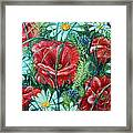 Flowers Poppies And Daisies Framed Print by Drinka Mercep