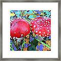 Fly-fungus With Blue Leaves By M.l.d.moerings 2009 Framed Print