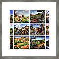 Folk Art Seasonal Seasons Sampler Greetings Rural Country Farm Collection Farms Landscape Scene Framed Print