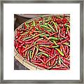 Food Market With Fresh Chili Peppers Framed Print