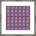 Forgetmenot Pattern On Marsala In Square Framed Print