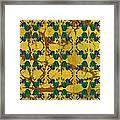 Four Fancy Fiddles Tiled On Gold Batik Framed Print