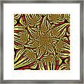 Fractal Golden And Red Framed Print