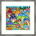 Frogs And Magic Mushrooms Framed Print