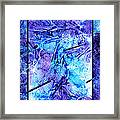 Frozen Castle Window Blue Abstract Framed Print