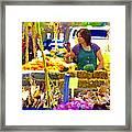 Fruit And Vegetable Vendor Roadside Food Stall Bazaars Grocery Market Scenes Carole Spandau Framed Print