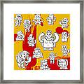 Funny Doodle Characters Urban Art Framed Print