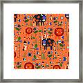 Funny Pattern With Animals Framed Print