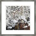Garden Gate In Winter Framed Print