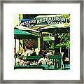 Garden Party Celebrations Under The Cool Green Umbrellas Of Restaurant Chase Cafe Art Scene Framed Print