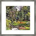 Garden With A Bridge Framed Print