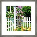 Garden With Picket Fence Framed Print
