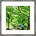 Girl Jogging With Dog Framed Print