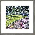 Girl On Trail Framed Print by Linda Vaughon