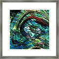 Glass Macro - Blue Green Swirls Framed Print