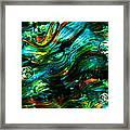 Glass Macro - Greens And Blues Framed Print
