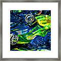 Glass Macro - Seahawks Blue And Green -13e4 Framed Print