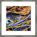 Glass Whale On Fishing Nets Framed Print