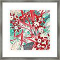 Glory Of The Snow - Red And Turquoise Framed Print