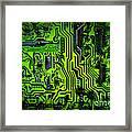 Glowing Green Circuit Board Framed Print