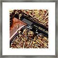 Gold 9mm Beretta With Brass Ammo Framed Print