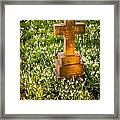 Gravestone With Snowdrops Framed Print