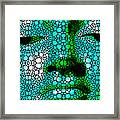 Green Buddha - Stone Rock'd Art By Sharon Cummings Framed Print