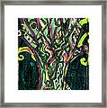 Green Tree With Pink Watercolor Framed Print