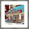 Greenspot Restaurant Notre Dame Street  South West Montreal Paintings Winter Hockey Scenes St. Henri Framed Print