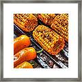 Grilling Corn And Peppers Framed Print