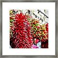 Hanging Chili Pepper Ristras At Farmers Market Framed Print by Teri Virbickis