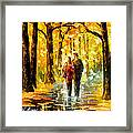 Happy Couple - Palette Knife Oil Painting On Canvas By Leonid Afremov Framed Print