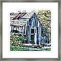 Hdr Tin Patch Roof Barn Framed Print