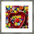 Heart Bowl With Buttons Framed Print