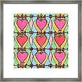 Hearts A'la Stained Glass Framed Print