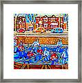 Hockey Art Collectible Cards And Prints Snowy Day  Neighborhood Rinks Verdun Montreal Art C Spandau Framed Print