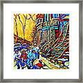 Hockey Art Montreal Winter Scene Winding Staircases Kids Playing Street Hockey Painting  Framed Print by Carole Spandau