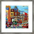 Hockey Art Montreal Winter Street Scene Painting Chez Vito Boucherie And Fairmount Bagel Framed Print