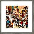 Hockey Game Near Winding Staircases Montreal Streetscene Framed Print by Carole Spandau