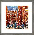 Hockey In The Laneway On Snowy Day Paintings Of Montreal Streets In Winter Carole Spandau Framed Print