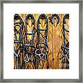 Horse Bridles Hanging In Stable Framed Print