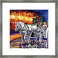 Horse Drawn Carriage Night Framed Print