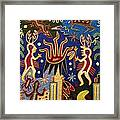 Huichol Yarn Painting Mexico Framed Print