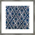 Indgo And White Diamonds Large Framed Print