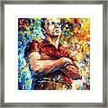 James Dean - Palette Knife Oil Painting On Canvas By Leonid Afremov Framed Print