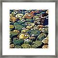 Japanese Garden Pool Rocks Framed Print