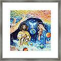 Jesus And Mary Cloud Colored Christ Come Framed Print
