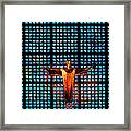 Jesus Sculpture And Blue Glass Background Framed Print